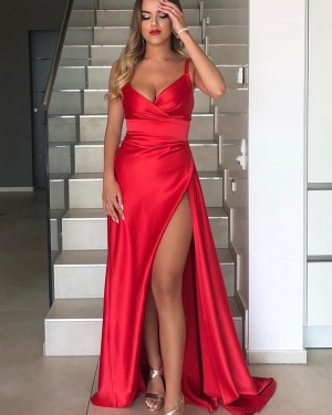 Red Square Neckline Satin Simple Prom Dress with Side Slit PD2005
