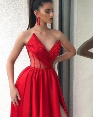 Sweetheart Red Ruched Unique Prom Dress with Side Slit PD2006