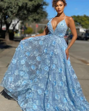 Spaghetti Straps Light Blue Lace A-line Prom Dress PD2007