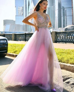 Beading Bodice Mauve Tulle V-neck Prom Dress with Side Slit PD2008