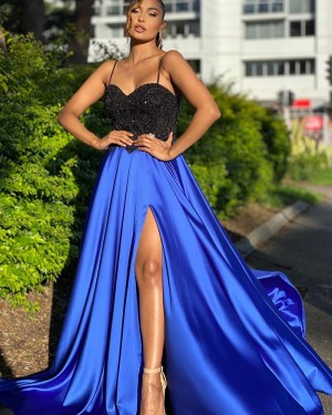 Black & Blue Spaghetti Straps Beading Bodice Prom Dress with Side Slit PD2009