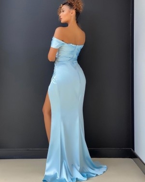 Light Blue Satin Off the Shoulder Prom Dress with Side Slit PD2010