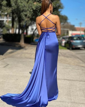 Spaghetti Straps Blue Satin Mermaid Simple Prom Dress PD2011