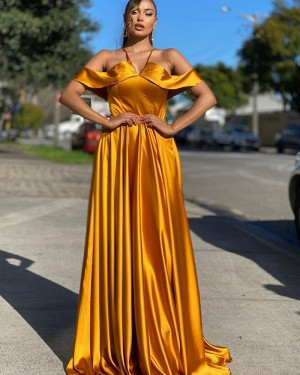Cold Shoulder Gold Satin Simple Prom Dress PD2012