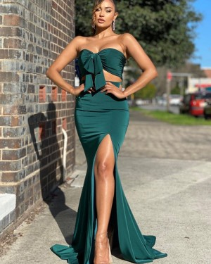 Two Piece Green Knotted Bodice Satin Mermaid Simple Prom Dress with Side Slit PD2013