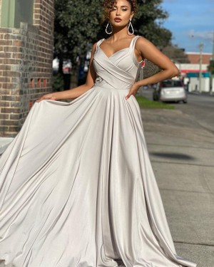 Square Neckline Ruched Grey Satin Simple Prom Dress PD2014