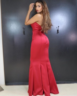 Sweetheart Red Satin Mermaid Simple Prom Dress PD2016