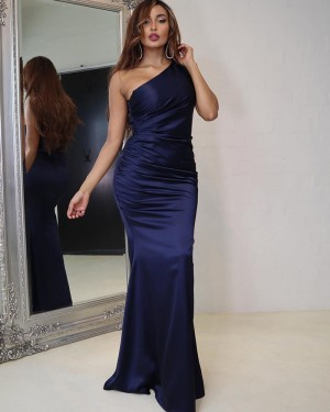 Navy Blue Ruched Satin One Shoulder Simple Prom Dress PD2018