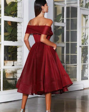 Ruched Burgundy Ankle Length Off the Shoulder Graduation Dress PD2019