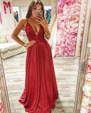 Metallic Red Ruched Spagehtti Straps Prom Dress PD2020