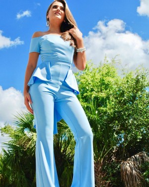 Off the Shoulder Satin Light Blue Unique Jumpsuit with Short Sleeves PD2021