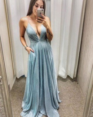 Ruched Metallic A-line Light Blue Prom Dress with Pockets PD2025