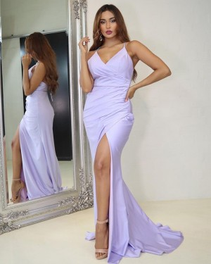 Light Purple Ruched Mermaid Spaghetti Strapls Prom Dress with Side Slit PD2027