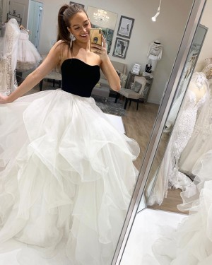 Strapless Black & White Tulle Ruffle Simple Prom Dress PD2028