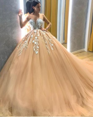 Lace Applique Bodice Champagne Sweetheart Pleated Tulle Prom Dress PD2029