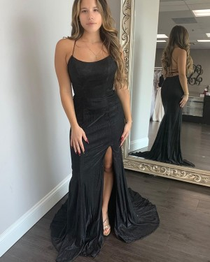 Black Satin Mermaid Spagehtti Straps Prom Dress with Side Slit PD2031