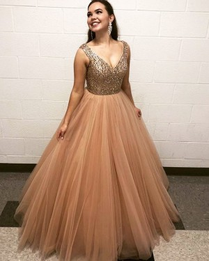 Beading Bodice V-neck Nude Tulle Pleated Prom Dress PD2034