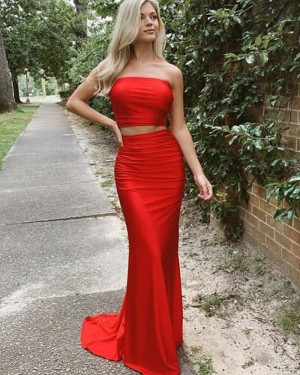 Two Piece Strapless Simple Satin Red Prom Dress PD2035