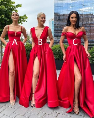 Spagehtti Straps Red Cutout Satin Side Slit Simple Prom Dress with Pockets PD2036