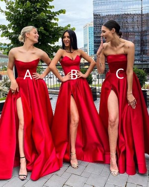 Strapless Red Satin A-line Simple Prom Dress with Side Slit PD2037