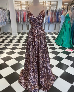 Spaghetti Straps Leopard Print A-line Prom Dress PD2038