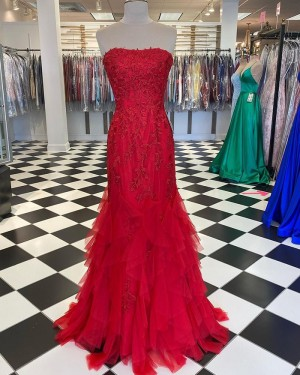 Lace Applique Strapless Red Ruffle Mermaid Prom Dress PD2039