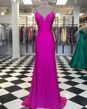 Spagehtti Straps Fuchsia Satin Mermaid Simple Prom Dress PD2040