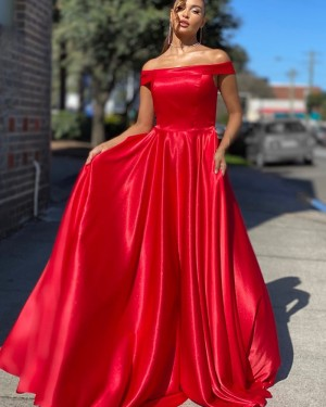 A-line Off the Shoulder Red Satin Simple Prom Dress PD2041