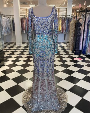 Sequin Lace Mermaid Scoop Prom Dress with Long Sleeve PD2043