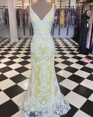 White & Yellow Lace Mermaid V-neck Prom Dress PD2044