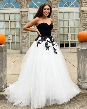 Black & White Tulle Applique Sweetheart Prom Dress PD2047