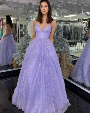 Lavender Spaghetti Straps Sequin Prom Dress with Pockets PD2051