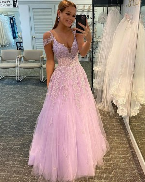 Lace Applique Cold Shoulder Tulle Pink Prom Dress PD2053