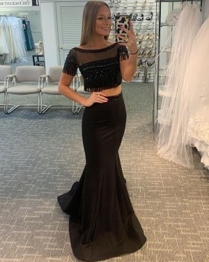 Black Two Piece Bateau Neck Satin Mermaid Prom Dress with Tassels PD2054