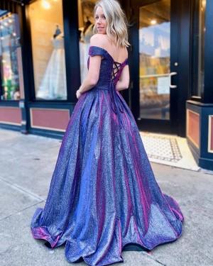 Metallic Blue V-neck A-line Prom Dress with Pockets PD2055