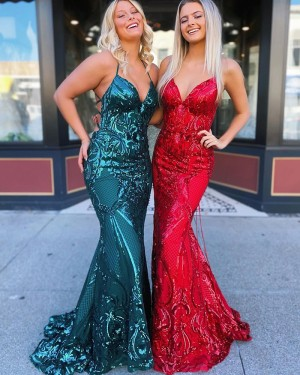 Green Sequin Lace Halter Mermaid Prom Dress PD2059