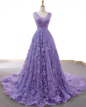 V-neck Light Purple Lace A-line Prom Dress PD2060