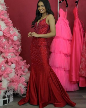 Sparkle Sequin Spaghetti Straps Red Mermaid Prom Dress PD2062