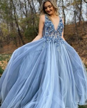 Beaded 3D Flowers V-neck Dusty Blue Tulle Prom Dress PD2067
