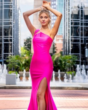 Fuchsia Satin Mermaid One Shoulder Prom Dress with Side Slit PD2069