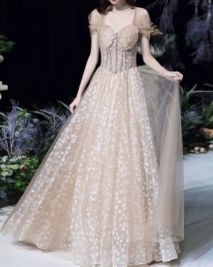 Lace Champagne Queen Anne Evening Dress with Tulle Cap Sleeves PD2072
