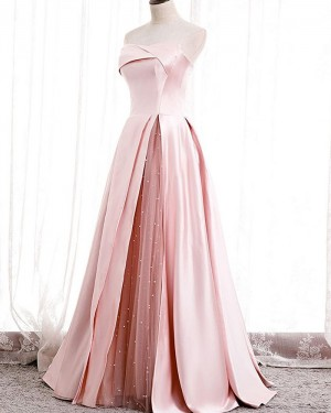 Light Pink Satin Strapless Evening Dress with Beading Tulle Slit PD2074