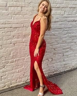 Royal Blue Spaghetti Straps Glitter-Knit Mermaid Prom Dress PD2078