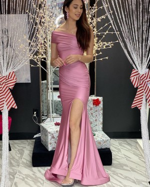 Ruched Dusty Pink Satin Mermaid One Shoulder Prom Dress with Side Slit PD2082