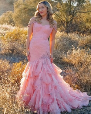 Ruffled Pink Tulle Cold Shoulder Beading Prom Dress PD2084