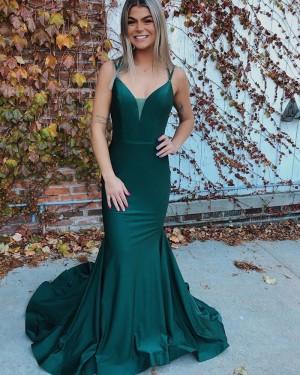 Green Satin Mermaid Double Spaghetti Straps Prom Dress PD2085
