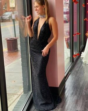 Glitter-knit Mermaid Black Deep V-neck Prom Dress PD2086