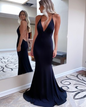 Spaghetti Straps Satin Mermaid Simple Prom Dress with Open Back PD2090