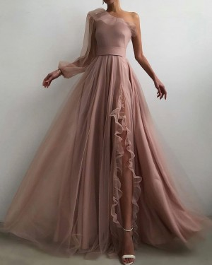 Tulle Nude Pleated One Shoulder Prom Dress with Side Slit PD2093
