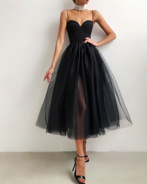 Black Tulle Spaghetti Straps Knee Length Graduation Dress with Side Slit PD2094